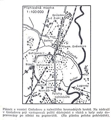 План, изображающий деревню Гнездово и местонахождение массовых могил.