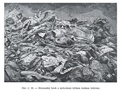 Массовая могила с трупами лежащими как попало.