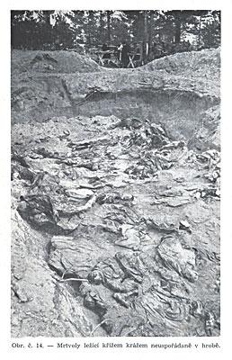 Трупы лежащие в беспорядке в могиле.
